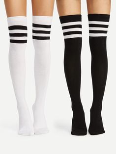 40116d11c8c  ROMWE -  ROMWE Striped Over The Knee Socks 2pairs - AdoreWe.com Black