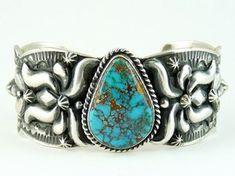 Natural Godber Turquoise Bracelet by Darryl Becenti, Native American Bracelet for $689.00   Native American Jewelry