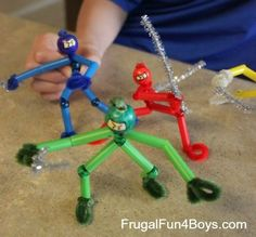 "pipe cleaner ninja  great ""craft"" fun for boys- the fun is in the making so a photo and all the parts to make your own in a recycled milk case."