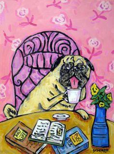 PUG dog art pop art folk painting coffee abstract giclee 8.5x11 GLOSSY PRINT