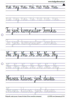 q=node 32 Polish Language, Math For Kids, Cursive, Sheet Music, Homeschool, Classroom, Lettering, Teaching, Education