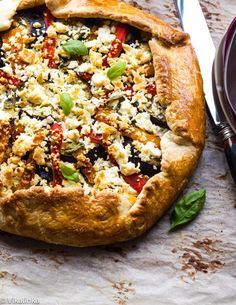 Eggplant, Red and Yellow Pepper Galette with Feta #vegetarian #healthy | Vikalinka