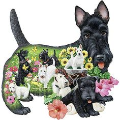 Bits and Pieces - 750 Piece Shaped Puzzle - Steadfast Scotties, Scotty Dog Puppies - by Artist Jack Williams - 750 pc Jigsaw Dog Puzzles, Jigsaw Puzzles, West Highland Terrier, Little Dogs, Dog Love, Dogs And Puppies, Doggies, Baby Animals, Dog Breeds