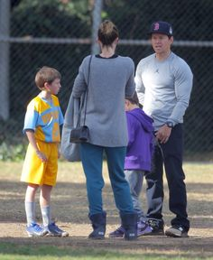 Mark Wahlberg and Rhea Durham attend their son Michael's soccer game on December 5, 2015