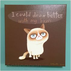 Hey, I found this really awesome Etsy listing at https://www.etsy.com/uk/listing/269277498/canvas-print-grumpy-cat-illustration-art
