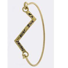 "Never give up bracelet NEVER EVER GIVE UP DESIGN BRACELET • Approx. 2.5"" diameter • Lead/Nickel compliant • Hook closure Jewelry Bracelets"
