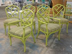 Set of 6 Rattan Chippendale Chairs