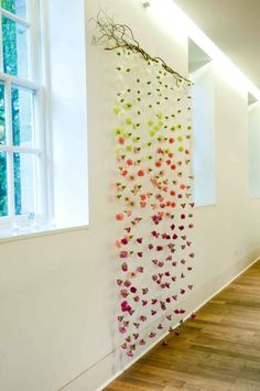 gorgeous hanging flower curtain, in your colours. Would be beautiful as a ceremony backdrop? Flower Curtain, Flower Backdrop, Hanging Flowers, Paper Flowers, Baby Shower Decorations, Flower Decorations, Bedroom Decor, Wall Decor, Wedding Ceremony Backdrop