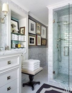 The master bath of a Kansas City, Missouri, home contains shower fittings by Restoration Hardware.Pin it.