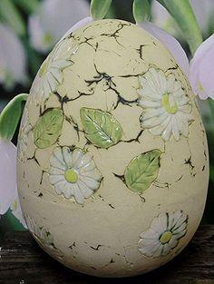 6 Stück braune Keramik-Eier m.Schmetterling u Schneeglöckchen,9cm hoch,Neu