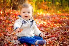 October Photo Challenge: Kids in the Fall #RockTheShot ~ Love this one of this baby boy in the leaves.
