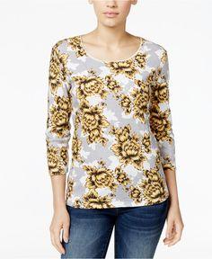 NWT 2XL 3/4 Sleeve Plus size Womens Top Shirt Safron Gold karen Scott #KarenScott #Blouse