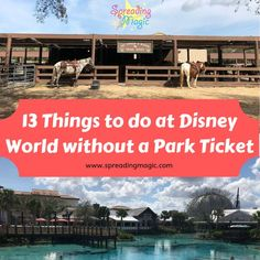 Whether you a travel day or a break from the parks during your vacation, there are lots of things to keep you busy at Disney World without a park ticket Disney World Hotels, Disney Destinations, Disney World Florida, Walt Disney World Vacations, Disney Trips, Family Vacations, Fort Wilderness Resort, Polynesian Village Resort, Beach Club Resort