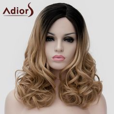 Adiors Shaggy Wavy Synthetic Long Black Ombre Brown Side Bang Universal Wig #women, #men, #hats, #watches, #belts, #fashion, #style
