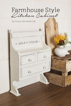 Colour Saturated Life | How cute is this Farmhouse Style Small Kitchen Cabinet