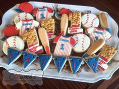 First birthday baseball themed cookies by Crumbs (@CrumbsCustomCookies on Instagram)
