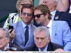 bradley cooper and gerard butler taking a selfie at wimbledon