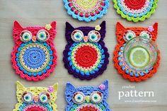 New Pattern – Crochet Owl Coasters (Appliques) « Crochet « Zoom Yummy – Crochet, Food, Photography