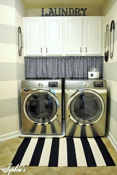 Little Laundry room ideas! Love the mini curtain to hide cords/ cleaning products sitting on shelf beneath cabinets