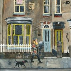 """Original mixed media artwork on deep edge canvas by Rachel Grant entitled """"Early Morning Walk"""". Ready to hang. 40 x 50 cms Illustrations, Illustration Art, Building Illustration, Rachel Grant, Format A3, Grandma Moses, Old Cottage, Mixed Media Artwork, Great Films"""