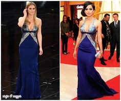Who Wore It Better? Roberto Cavalli Blue Gown With Plunging Neckline