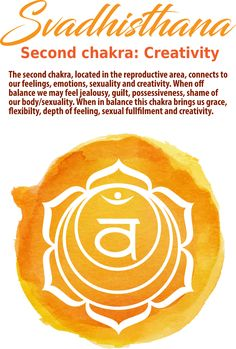 The Second Chakra/ Sacral Chakra represents creativity, personal energy, sexuality, and overall health. This chakra receives universal life force energy. Sacral Chakra Healing, Muladhara Chakra, Chakra Meditation, Meditation Music, Mindfulness Meditation, Chakra Symbols, Chakra Art, Yoga Symbols, Chakra Mantra