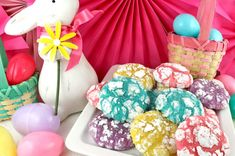 Springtime Crinkle Cookies - light and fluffy on the inside - sweet and crunchy on the outside with a hint of lemon flavor. A yummy homemade Crinkle cookie recipe that is not made from a cake mix. This fun and easy Easter Treat would be a great Easter dessert idea. Pin this easy Spring cookie recipe for later and follow us for more great Easter Food ideas. #SpringCookies #EasterDesserts #EasterTreats #CrinkleCookies