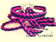 Dog collar and leach made of paracord. Handmade. www.facebook.com/lillabyrackan