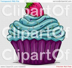 Clipart Cupcake Topped With Blue Frosting Sprinkles And A Strawberry - Royalty Free Vector Illustration by BNP Design Studio