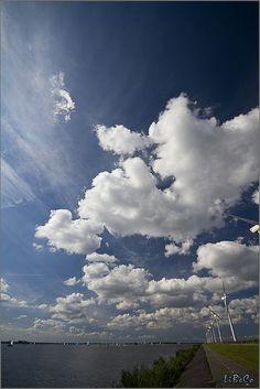 Dutch sky with puffy clouds