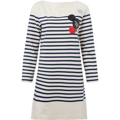 Marc by Marc Jacobs Blue Breton Stripe Dress (6.016.430 IDR) ❤ liked on Polyvore featuring dresses, white dress, boatneck dress, blue sequin dress, star dress and wet look dress