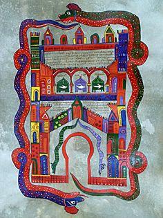Copia manuscrita de la miniatura La Gran Babilonia (folio 238 v) del Comentario al Apocalipsis de San Juan del Beato Maius o Magius, encargada por el Abad del Monasterio mozárabe leonés de San Miguel de la Escalada, datada a mediados s. X (Morgan Library de Nueva York). Materiales: Tinta y gouache a base de pigmentos naturales sobre pergamino natural de cordero, realizado con pincel y pluma. Letra: visigótica. Tamaño: 70 x 65 cm.  Autora: Nieves Baeza López, 2013. Foto: Nieves Baeza
