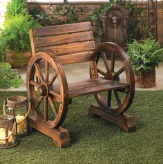 RUSTIC OLD COUNTRY WAGON WHEEL CHAIR GARDEN DECOR~10015793