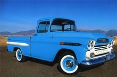 Blue 1959 CHEVROLET APACHE Maintenance/restoration of old/vintage vehicles: the material for new cogs/casters/gears/pads could be cast polyamide which I (Cast polyamide) can produce. My contact: tatjana.alic@windowslive.com