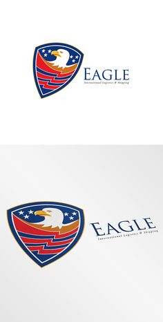 American Eagle International Logistics Logo. Logo showing illustration of an american bald eagle head with american stars and stripes set inside a shield crest done in retro style. 100%