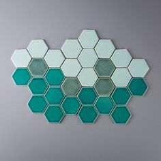 """Happy Saturday! Here are 3"""" hexagons in a blend of Emerald, Sea Foam and Aqua--would you try an ombré look like this? #handmade #tiles #design"""