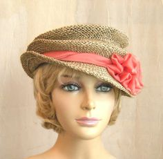 Handmade seagrass hat with silk  chiffon and vintage buttons. Cute and packable from designer Chris Shimpach at LuminataCo on etsy.