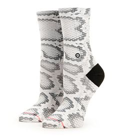 Slither into some serious comfort and style thanks to these snake print crew socks crafted with a blended combed cotton construction and elastic arch support.