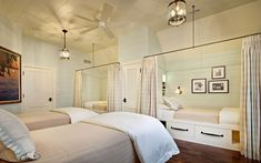 pale seafoam green bedroom, built-in beds, lakehouse bedroom (Sherwin Williams, Crystal Clear)