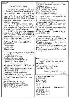 Avaliação de Português – 4º ano | Sala de Aula – Profª Rérida