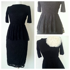 The Black Lace Peplum Dress, Dress underlay is available in 16 colors,  XS to 3X. $30.00, via Etsy.
