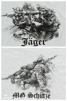 T-Shirt Jäger mit Maschinengewehr und jeweils zwei Wehrmacht Soldaten einmal knieend und einmal liegend. Weitere Wehrmacht Motive und Motive des 2.Weltkrieg (WWII) / mehr Infos auf: www.Guntia-Militaria-Shop.de