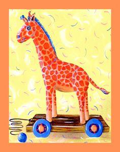 Giraffe wall art for kids child art decor by HamiltonArtandDesign