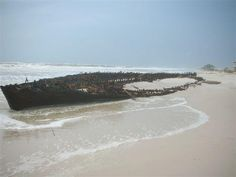 Originally believed to be a Civil War blockade runner, the wreckage of the schooner Rachel was revealed at Ft. Morgan, Alabama by Hurricane Isaac. It ran aground in 1923 during a storm.