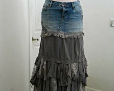 Vintage lace ruffled embellished ballroom jean skirt rhinestones  Renaissance Denim Couture  belle bohémienne Made to Order