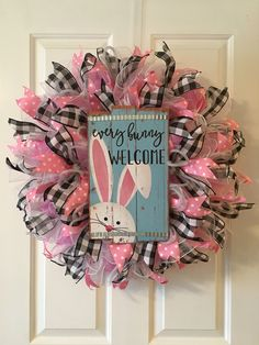 Every Bunny Welcome Wreath, Easter Wreath, Easter Decor. Rabbit Wreath, Easter Door Decor, by TiraMercantile on Etsy