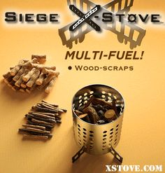 Siege X-Stove: the fastest and most stable compact, portable, wood-burning & multi-fuel camping and survival stove on the planet! Outperforms stoves costing far more. Provides the perfect pot support and wind break for alcohol stoves (penny / soda / beer can / Trangia®), solid fuels (hexamine tablets), gel fuel canisters and white gas canisters. But wood scraps are free and abundant! You can even create a wood-gas stove with the Siege Cross-Members.