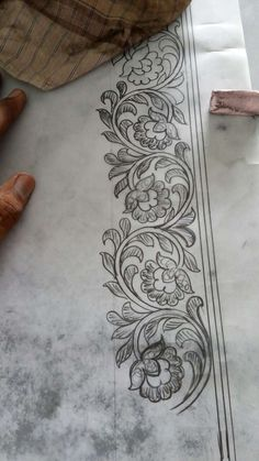 Border Embroidery Designs, Hand Work Embroidery, Embroidery Motifs, Ribbon Embroidery, Paint Designs, Designs To Draw, Motif Floral, Border Design, Fabric Painting