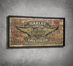 It's time to redecorate. The Brick Sign has the worn look of an old brick wall. Find a place for it in your garage, shop, man cave, or back deck. | Harley-Davidson Brick Sign