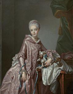 Madame de Pompadour (Portrait of a Girl Holding a Spaniel by Alexander. 18th Century Dress, 18th Century Costume, 18th Century Fashion, 17th Century, Historical Costume, Historical Clothing, Female Clothing, Rococo Fashion, Vintage Fashion